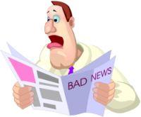 карикатура - мужчина читает плохие новости