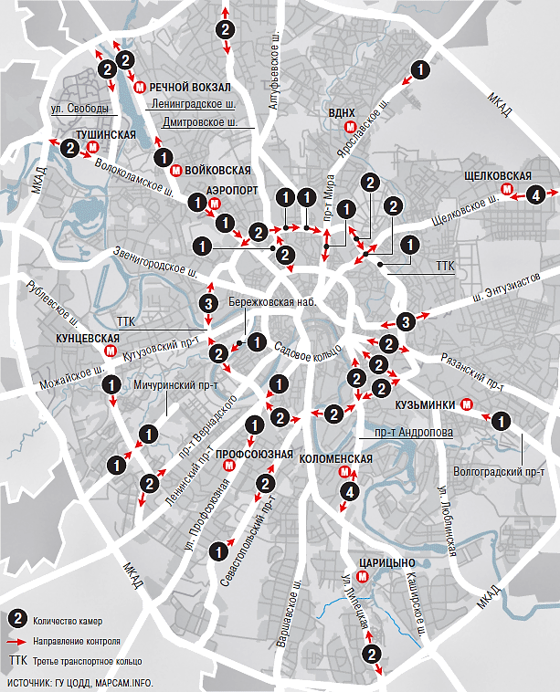 Карта расположения камер слежения на дорогах Москвы
