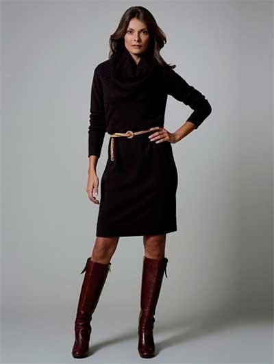 Длинное платье-свитер тонким ремешком