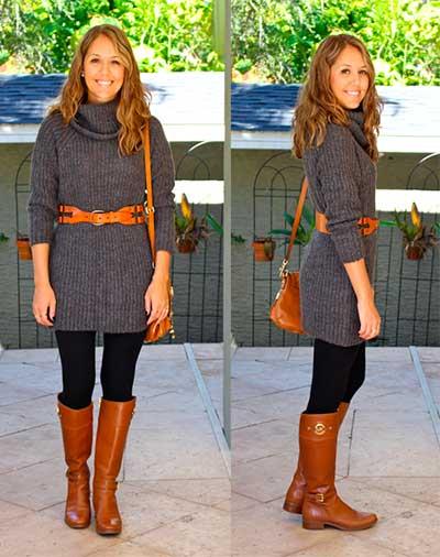 платье-кофта с широким поясом