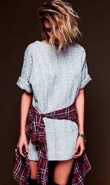 Платье-кофта, подпоясанное рубашкой