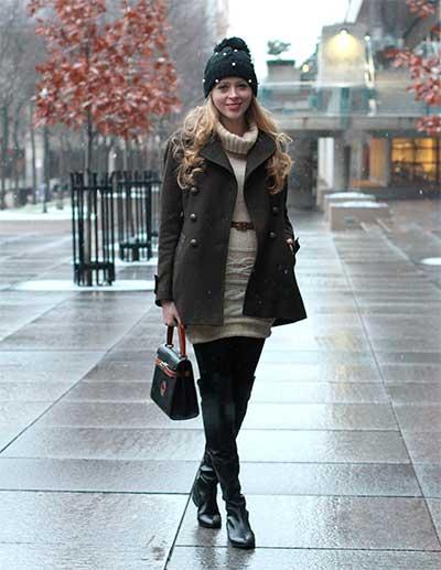 Пальто на платье-свитер