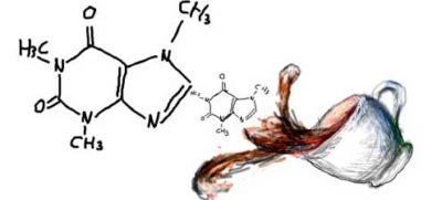 чашка кофе и молекула кофеина - рисунок
