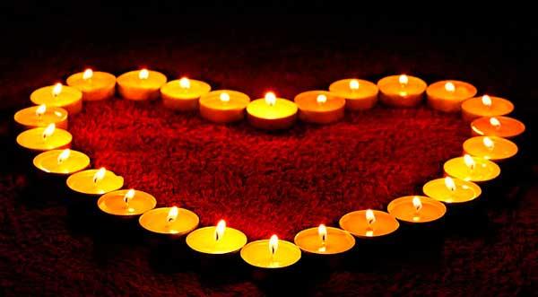 свечи сердечком