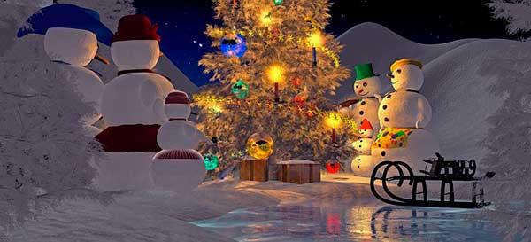 снеговики и елка