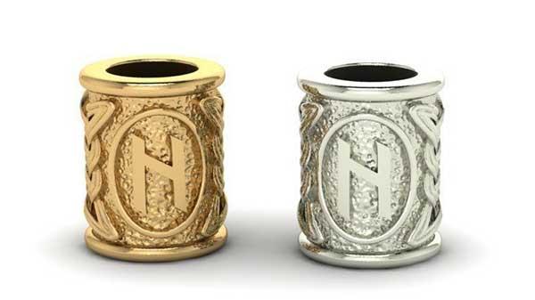 серебряный и золотой знак Хагалаз
